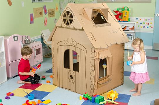 Как сделать домик из картона в детский